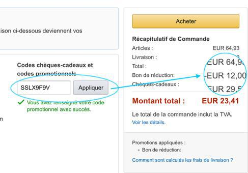 bon réduction amazon